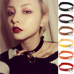 13 Colors Vintage Women Men Jewelry Punk Goth Rivet Choker Necklace Leather Collares Necklace