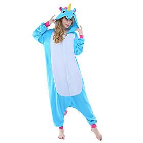 Adults' Kigurumi Pajamas Unicorn Flying Horse Onesie Pajamas Polar Fleece Blue / YellowBlue / WhiteGray Cosplay For Men and Women Animal Sleepwear Cartoon Fest