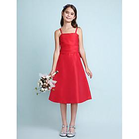 LAN TING BRIDE Knee Length Taffeta Junior Bridesmaid Dress A-line Princess Spaghetti Straps Natural with Bow(s) Ruching - Sky Blue Lime
