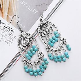 Fashion Vintage Ethnic Style Turquoise Tassel Earrings For Women Brand Charm Silver Drop Earring Fine Jewelry brincos