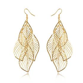 Women's Gold Hollow Leaf Drop Earrings