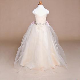 Ball Gown Floor-length Flower Girl Dress - Satin / Tulle Sleeveless Spaghett..