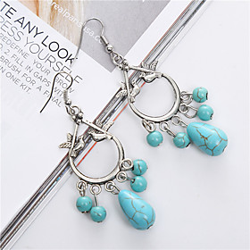 Bohemian Ethnic Jewelry Tibetan Silver Dangle Earrings Vintage Boho Birds Turquoise Drop Earrings For Women plus size,  plus size fashion plus size appare