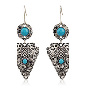 Women European Style Antique Silver Plated Ethnic Geometric Earring Vintage Bohemian Turquoise Triangle Earrings
