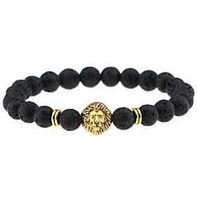 Men Women Jewelry Gold/Silver Plated Lion Head Buddha Charm Bracelet Black L..