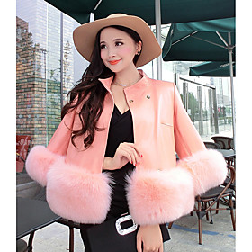 Women's Casual/Daily Simple Fur Coat,Solid Shirt Collar Long Sleeve Winter Pink / Black / Gray Faux Fur Thick 5209660