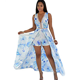 Women's Floral Sexy Vintage Slim Bandage Backless Jumpsuits,Sexy / Vintage Deep V Sleeveless