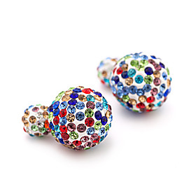 New Fashion 2016 Double Side Rhinestone Stud Earrings Jewelry Colorful Candy Earrings Women Crystal Accessories