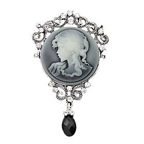 Women's Fashion Antique Silver Vintage Brooch Pins Jewelry Queen Rhinestone ..