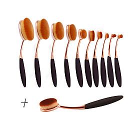 New Arrival 11pcs/set ToothBrush Shape Oval Makeup Brush Set MULTIPURPOSE Professional Foundation Powder Brush Kits