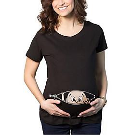 Maternity Round Neck Mesh Printde cute T-shirt,Cotton / Polyester Short Sleeve Blouse Women Tops