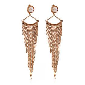 European Style Design Vintage Fashion Long Earrings 18K Gold Plated Chain Pearl Tassel Earrings For Women Jewelry