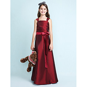 A-Line Princess Straps Floor Length Taffeta Junior Bridesmaid Dress with Bow(s) Sash / Ribbon Ruching by LAN TING BRIDE