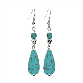 Fashion Earings Jewelry Vintage Tibetan Silver Turquoise Water Drop Dangle Earrings Jewelry For Women