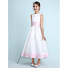 A-Line Princess Jewel Neck Knee Length Satin Junior Bridesmaid Dress with Sash / Ribbon Ruching Ruffles by LAN TING BRIDE
