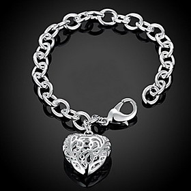 Women's Hollow Out Chain Bracelet Charm Bracelet - Sterling Silver Heart, Love Personalized, Fashion Bracelet Silver For Christmas Gifts Wedding Party