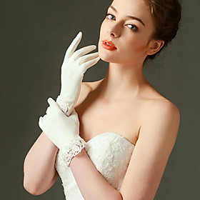 Wrist Length Fingertips Glove Elastic Satin Bridal Gloves Spring with Lace