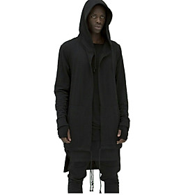 Men's Personality Assassin Long Hooded Sweatshirt,Cotton / Polyester Long Sleeve Black / White 5155263