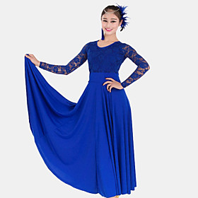 Ballroom Dance Dresses Women's Performance Lace 1 Piece Black / Blue / Fuchsia / Green / Red / White / Yellow