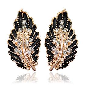 Women's Stud Earrings Drop Earrings Earrings Leaf Fashion Jewelry Black / Green / Pink For Wedding Party 1pc