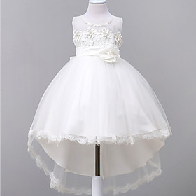 Ball Gown Court Train Flower Girl Dress - Lace / Organza Sleeveless Jewel Neck with Appliques / Bow(s) / Lace by LAN TING Express