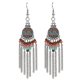 2016 Bohemian Vintage Jewelry Gold/Silver Plated Women's Beads Tassel Earrings plus size,  plus size fashion plus size appare