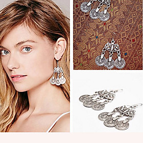 Fashion 2016 Boho Gypsy Zamac Vintage Tibetan Silver Tassel Coin Dangle Earrings Statement Earrings For Women
