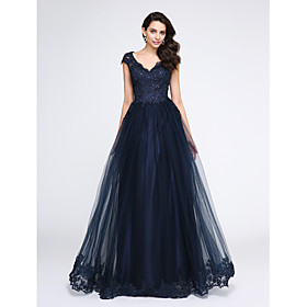 2017 TS Couture Formal Evening Dress A-line V-neck Floor-length Tulle with Appliques / Beading