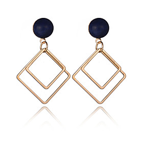 2016 Women Fashion Jewelry 18K Gold Plated Double Metal Square Dangle Earrings European Vintage Big Party Earrings