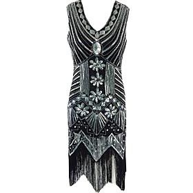 Women's Formal / Party/Cocktail Vintage 1920s Sheath Dress,Paisley Tassel V Neck Midi Sleeveless Black Polyester