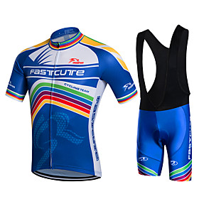 Fastcute Men's Short Sleeves Cycling Jersey with Bib Shorts - White Bike Shorts Bib Shorts Bib Tights Jersey Jacket Clothing Suits, 3D 5544933