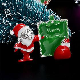 Fashion Austrian Crystal Christmas Brooch Santa Claus Snow Skiing Brooch Xmas Brooches For Women female