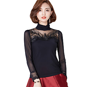 Fall Plus Size Go out Women's Tops Solid Color Slim Was Thin Fashion Mesh Turtleneck Long Sleeve Blouse