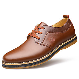 Men's Formal Shoes Cowhide Spring Casual / Comfort Oxfords Walking Shoes Black / Brown / Wedding / Leather Shoes