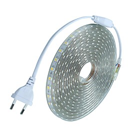 10m 600 LEDs 5050 SMD Warm White / White / Red Cuttable / Waterproof 220 V