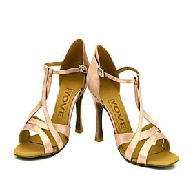 Customizable Women's Dance Shoes Latin/Ballroom Satin Customized Heel Pink