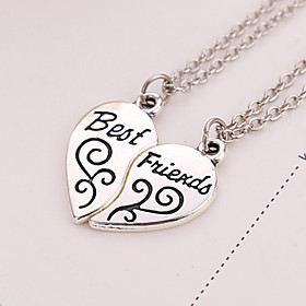Geometric Pendant Necklace - Silver Plated Friends, Heart, Love European Silver Necklace Jewelry 2pcs For Thank You, Gift, Daily