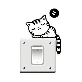 """fashion vinyl wall sticker switch humorous cute black cat """
