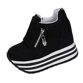 Women's Shoes Fabric Spring / Fall Heels Walking Shoes Wedge Heel Zipper Black / Red
