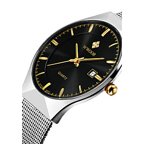 Wwoor Men's Quartz Japanese Quartz Wrist Watch Calendar / Date / Day Water Resistant / Water Proof Noctilucent Stainless Steel Band