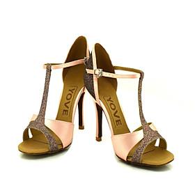 Customizable Women's Dance Shoes Latin/Ballroom Satin/Sparkling Glitter Customized Heel Purple