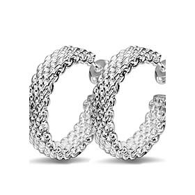 Women's Hoop Earrings Huggie Earrings Sterling Silver Earrings Ladies Personalized Cross Fashion Inspirational Jewelry Silver For Wedding Party Daily Casual Ma