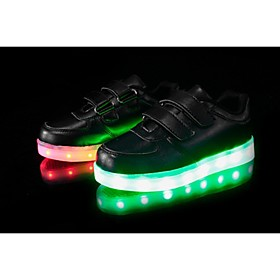 Boy's LED'S Shoes Sneakers Comfort / Flats Party / Athletic / Casual Flat Heel Magic Tape / LED Black / White
