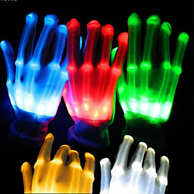 1pair Lighting LED Gloves Glow Colorful Skeleton Gloves For Party Decorations Dancing Luminous Toys 5282185