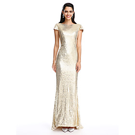 Sheath / Column Scoop Neck Ankle Length Georgette Formal Evening Dress with ..
