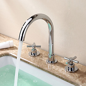 Bathroom Sink Faucet Widespread Chrome Widespread Two Handles Three HolesBath Taps