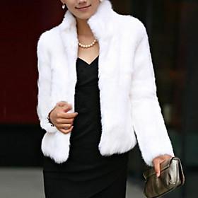 Women's Simple Fur Coat,Solid Long Sleeve Winter Faux Fur