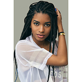Box Braids / Crochet Twist Braids Hair Extensions 24Inch Kanekalon 12 Strand 90g gram Hair Braids Natural Dark