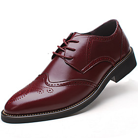 Men's Formal Shoes Leather Spring / Fall Business / Comfort Oxfords Slip Resistant Black / Brown / Burgundy / Wedding / Party  Evening / Block Heel / Brogue /