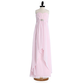 Sheath / Column Sweetheart Floor Length Chiffon Junior Bridesmaid Dress with..